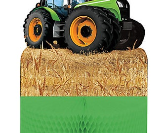 Tractor Inspired Birthday Centerpiece; Tractor Happy Birthday Banners; Tractor Loot Favor Bags; John Deere themed event. Old McDonald theme