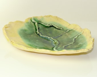 Ceramic Tray, Small Yellow and Green Textured Spoon Condiment Serving Tray