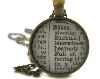 BLISS Definition Necklace, Bliss Necklace, Dictionary Necklace, Word Definition, Round Pendant with Chain, Bronze or Silver