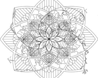 Flower Pattern | Coloring Page for Adults