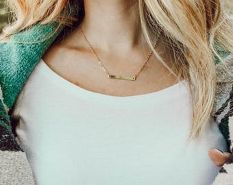 skinny gold bar necklace // gold filled // personalized