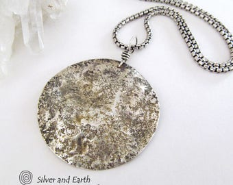 Silver Moon Necklace, Sterling Silver Pendant, Celestial Jewelry, Full Moon Necklace, Hammered Silver Necklace with Chain, Lunar Jewelry