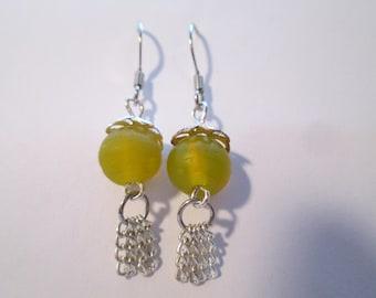 Yellow Glass Bead Dangle Earrings