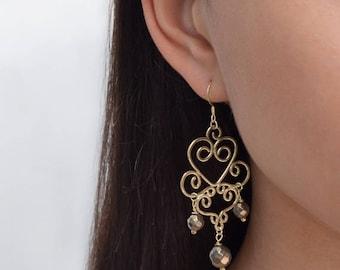 Beaded Pyrite Drop Earrings, Long dangle earrings Gold, Thread earrings, Chain earrings, Pyrite earrings, Pyrite stud earrings