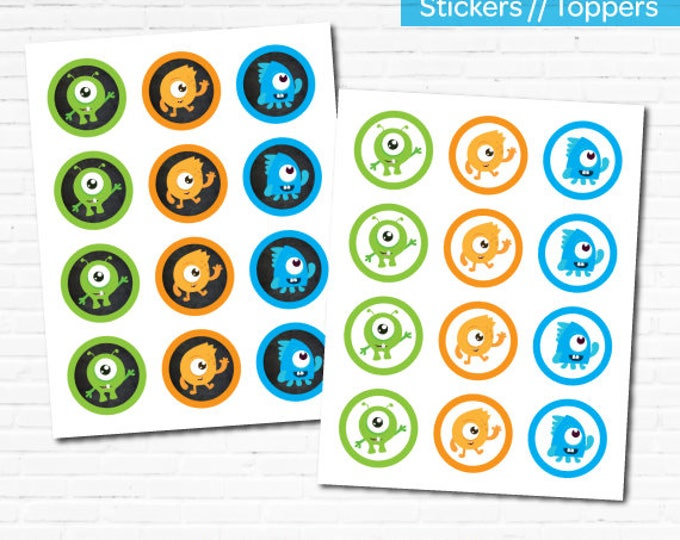 Little Monster Toppers, Little Monster 1st Birthday Party, Little Monster Stickers, Instant Download, 2 versions included