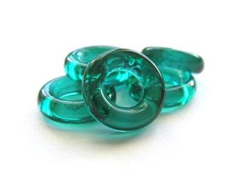 Emerald Green Czech Glass Rings, 14mm - 6 pieces