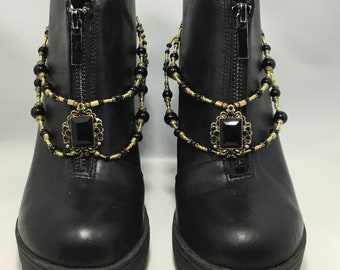Black and Antique Gold Double Strand Boot Straps / Boot Jewelry / Shoe Bracelets
