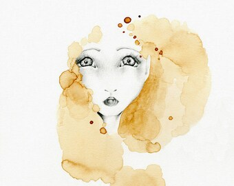 Abstract Painting Gold Decor Gold Brown Home Abstract Girl Fine Art Giclee Art Print Big Eyes Drawing Girl Abstract Drawing Illustration
