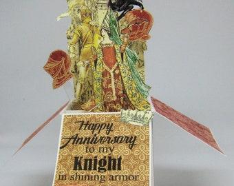 Knight in Shining Armour pop up card - Anniversary Box Card  - Husband Wedding Anniversary