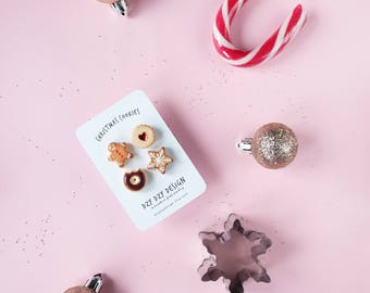 Christmas pin SET OF 4. Miniature food jewelry. Gingerbread man brooch, donut pin. Christmas stocking stuffer, gift set, funny pin brooch