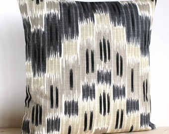 Grey and Beige Ikat Pillow Cover, 16 Inch Ikat Cushion Cover Pillow Sham - Ikat Zigzag Neutral