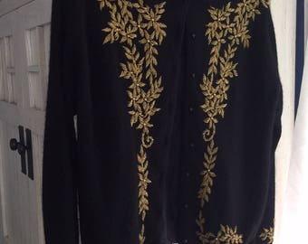 Vintage 60s Black Beaded Sweater With Gold Metal Beadwork. Size M