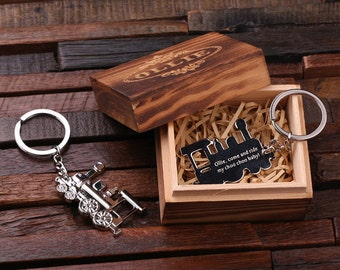 Personalized Monogrammed Train Conductor Engine Key Chain Men, Boyfriend, Birthday Father's Day Gift Idea with Wood Gift Box