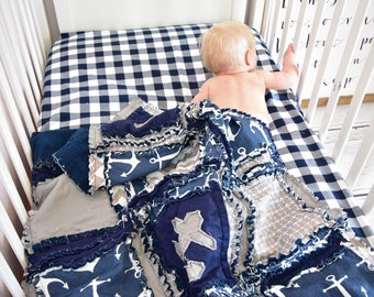 Navy Blue Buffalo Plaid Fitted Crib Sheet and Toddler Bed Sheet for Baby Nursery Bedding