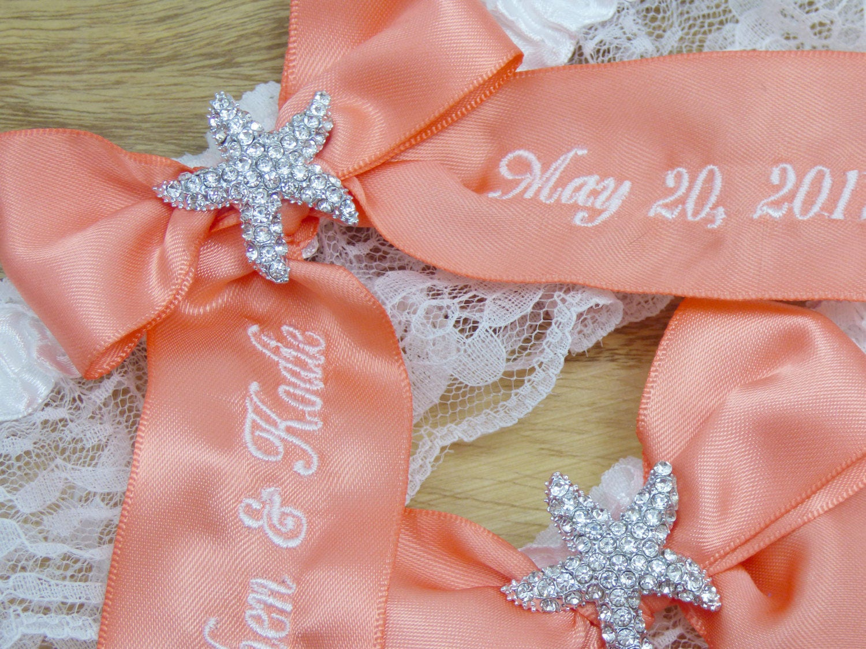 Coral Bridal Garter Starfish Wedding Garter Beach Theme