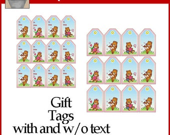 Love Bears Gift Tags Printable with and without text