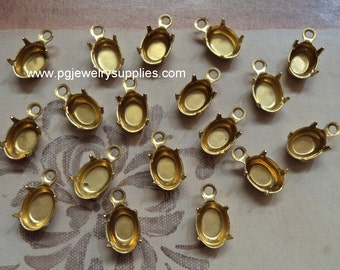 7mm x 5mm oval brass prong closed back one ring loop pendant settings 18 pcs lot