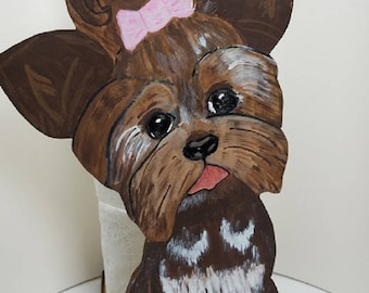 Adorable Tea-Cup Yorkie,  Free standing, Paper Towel /Toilet Paper holder. Wooden, Handcrafted, Hand-panted and Unique Gift for Dog lovers.