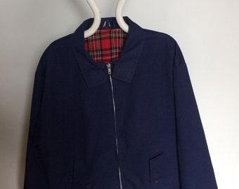 70s 80s Vintage Clothing Retro Men's Blue Harrington Jacket Steve McQueen