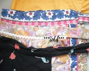 vintage retro half aprons, assorted skirt aprons, vintage retro fabrics