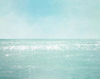 Ocean Photograph, Aquamarine Blue Teal Print, Open Sea, Ocean Horizon, Coastal Wall Art 8x8