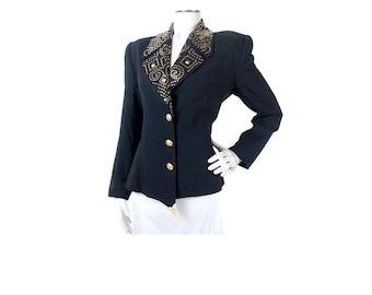 Vintage 80s Blazer - 80s Black Blazer - 80s Studded Blazer - Gold Studs - 80s Black Gold Blazer - 80s Studded Jacket - Alberto Makali