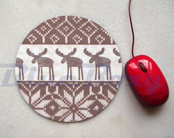 Reindeer Mousepad, Office Mousepad, Computer Mouse Pad, Fabric Mousepad