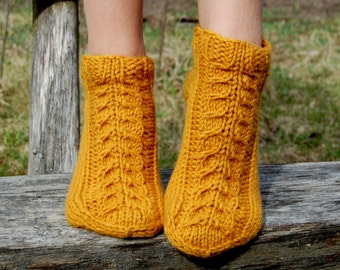 Hand knit wool slippers,  Knitted wool slippers, Knitted Wool Slipper Socks, knitted wool slippers, Wool socks for women