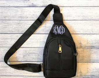 Personalized Cross Body Sling Bag - Black