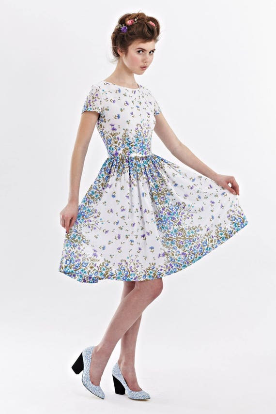 Wedding dress 50s guest Midi dress party bridesmaid Novelty dress 1950s dress party dress dress floral dress Floral Garden Tea print dress wvBOOx