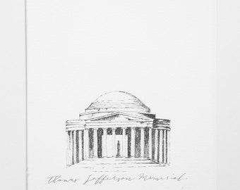 Thomas Jefferson memorial original 8x10 sketch