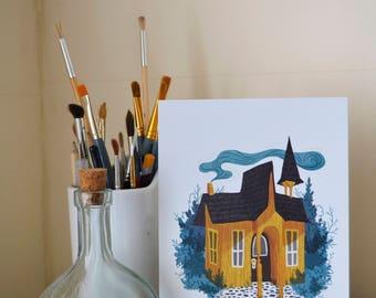 Yellow Woodland House Art Print