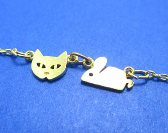 Super Cute Kitty Cat and Mouse Charm Necklace in Gold | Handmade Animal Jewelry