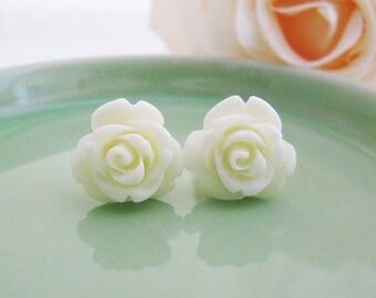 Cream White Rose Cabochon Ear Studs