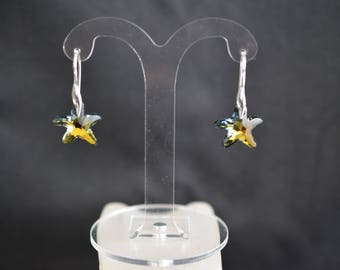 Silver 925 earrings and Swarovski crystal starfish