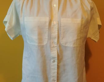 Vintage 1970's Joan Off White Button Up Short Sleeve Blouse Women's Size Large