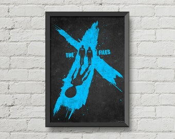The x files poster,digital print.art,blue,black,Mulder,Scully,television series,aliens