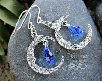 Wise Moon Earrings - Crescent man on the moon silver charms & sapphire blue Swarovski crystal drops - free shipping USA