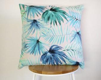 Tropical aqua Palm leaf print cushion cover