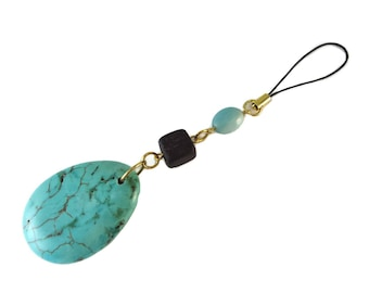 Large Aqua Blue Bag Charm Stone and Wood, Brown and Blue Zipper Pull Gold and Magnesite Pendant, Large Teardrop Purse Charm Turquoise Gift