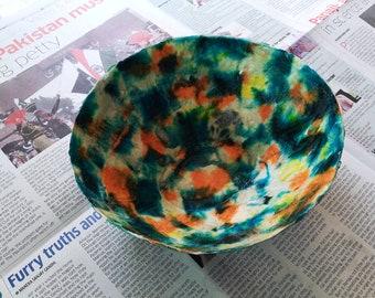 Large Batik Egg Shaped Paper Mache Bowl With Handmade Gold & Blue Paper, Paper Mache, Ring Dish