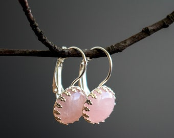 Rose quartz Earrings, Dangle earrings, Rose quartz Jewelry, vintage earrings, pink earrings, Rose quartz stone, Birthday Gift, Ohrringe