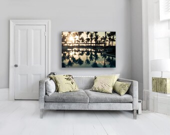 Palm Tree Art - Large Abstract Canvas Wall Art - Tropical Black Yellow Canvas Wall Decor
