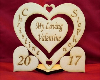 Personalised Wooden Love Heart Valentines Day I Love You Anniversary Gift ww1