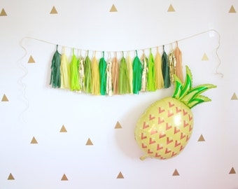 Pineapple Party Pack - Pineapple Balloon and Tassel Garland, Tropical Beach Pineapple Party Decor, Photo Booth Prop, Green Yellow and Gold