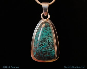 Chrysocolla in Argentium Sterling Silver Pendant