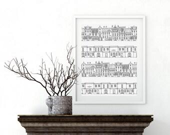 Village Print Houses Illustration, Nature print, Art print, berlin houses
