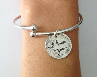 Message of Love in Your Actual  Handwritting - Sterling Silver Charm Cuff Bracelet with Removable Threaded Ball End - Made to order