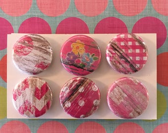 Bright Pink Barnwood print Magnets, one inch round