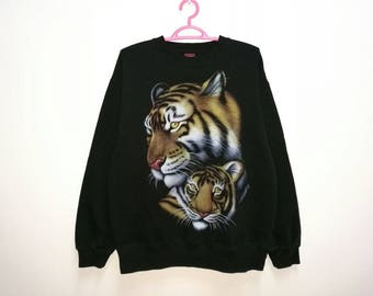 Embroidered Hoodie Sweatshirt, Amazing Tiger with Green Rhinestone Eyes.